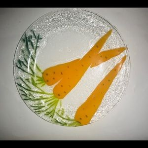 New Handmade Hand Painted Glass Plate Carrots